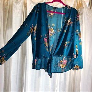 Fashion Nova Front tie floral blouse